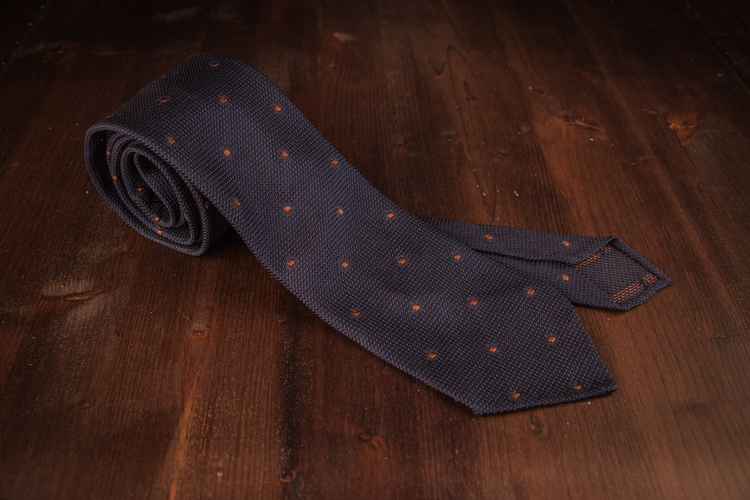 Polka Dot Silk Grenadine Tie - Untipped - Navy Blue/Brown