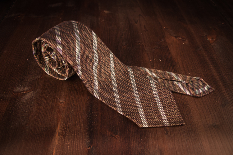 Regimental Silk Grenadine Tie - Untipped - Light Brown/Creme