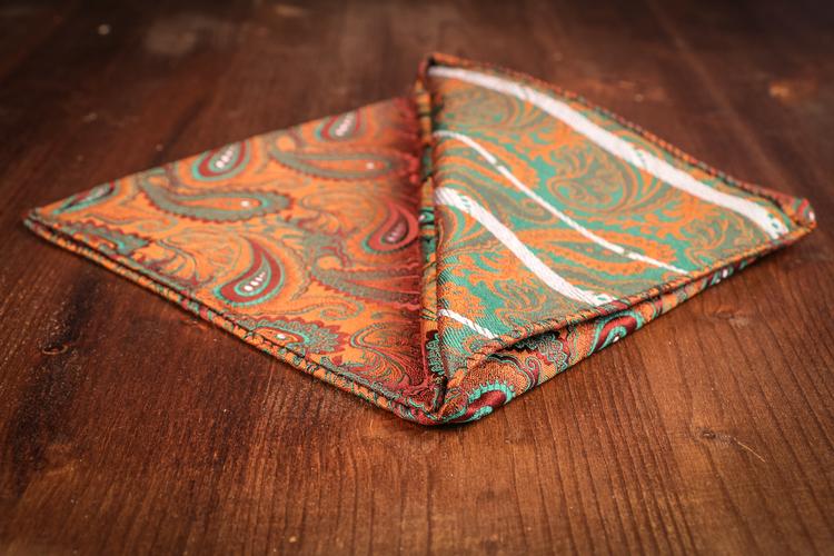 Silk Paisley - Orange/Green