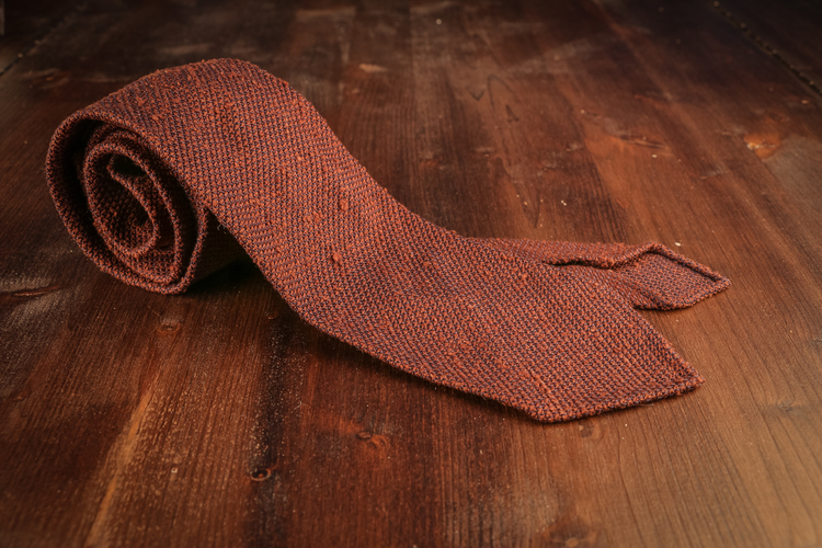 Solid Shantung Grenadine Tie - Untipped - Rust/Bronze