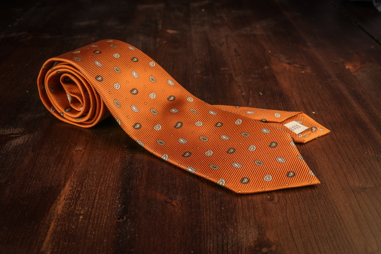 Small Paisley Vintage Silk Tie - Rust Orange
