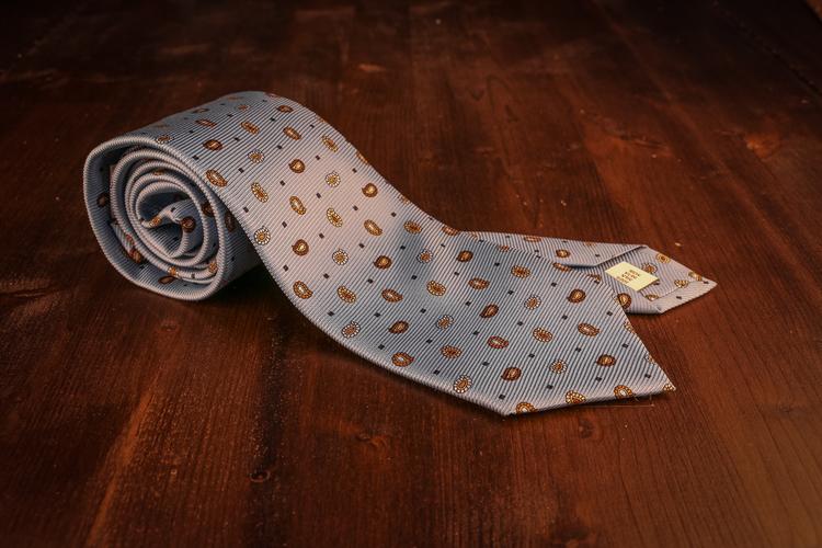 Small Paisley Vintage Silk Tie - Light Blue/Beige