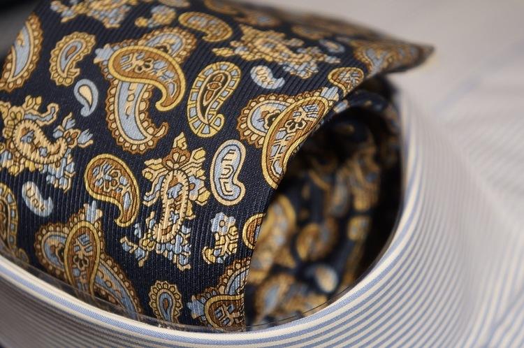 Paisley Vintage Silk Tie - Navy Blue/Brown/Light Blue