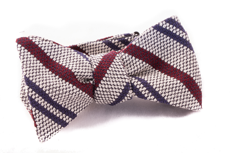 Self tie Garza Regimental - White/Burgundy/Navy