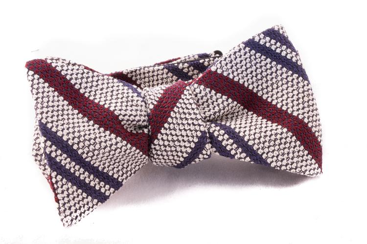 Self tie Garza Regimental - White/Burgundy/Navy