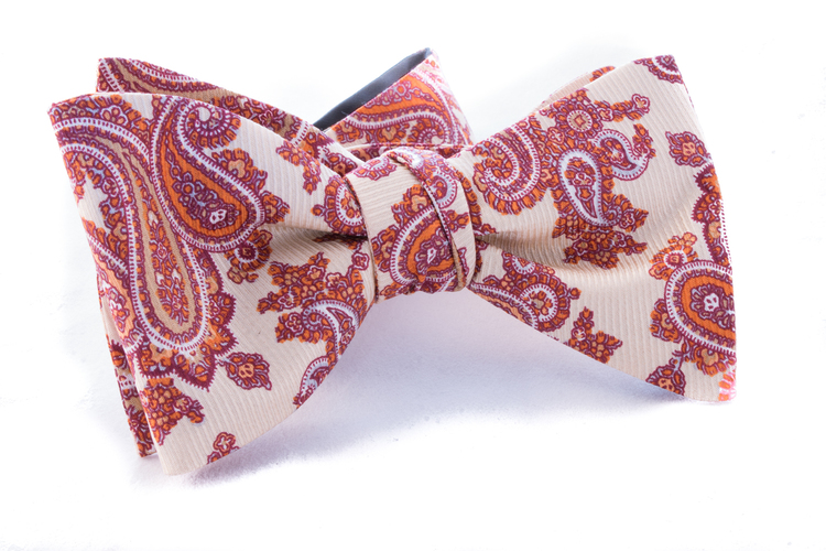 Self tie Silk Vintage - Citrus/Red