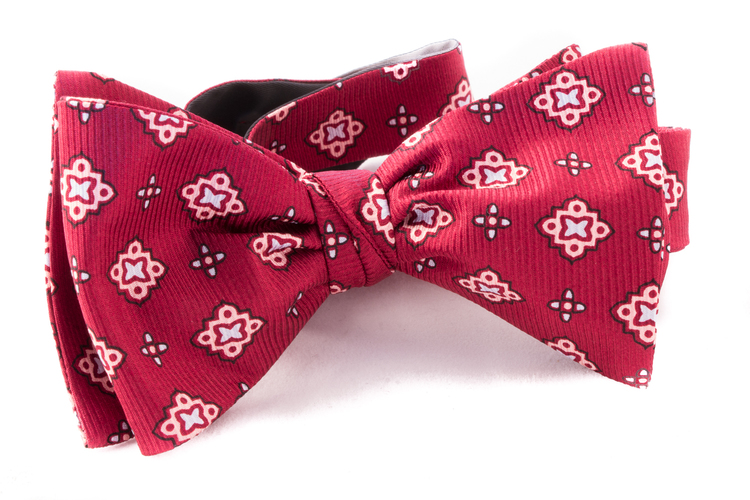 Self tie Silk Vintage - Dark Red/Pink