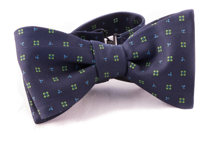 Self tie Silk - Navy Blue/Green