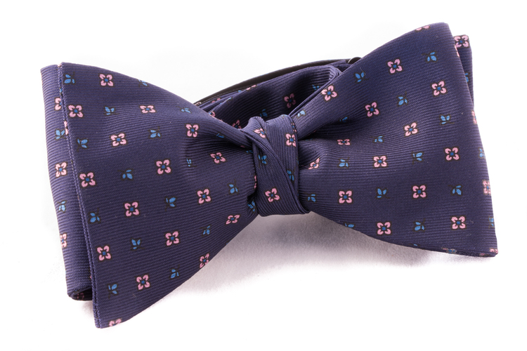 Self tie Silk - Navy Blue/Pink