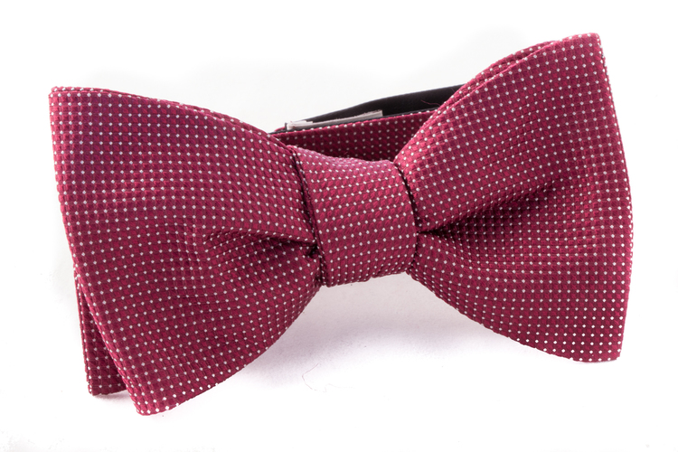 Self tie Silk - Burgundy/White