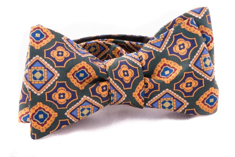 Self tie Silk - Green/Yellow/Blue