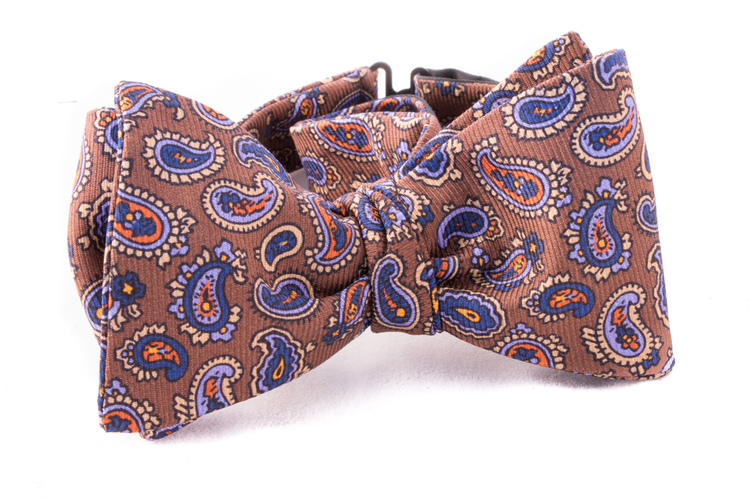 Self tie Vintage Silk - Beige/Blue/Purple