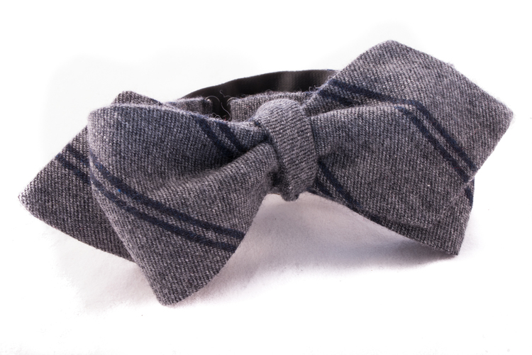 Self tie Cashmere - Grey/Navy Blue