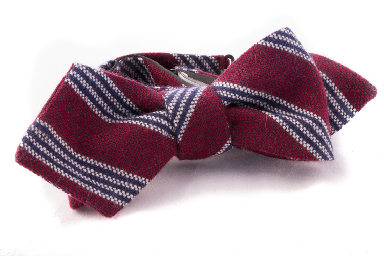 Self tie Cashmere - Burgundy/Navy Blue