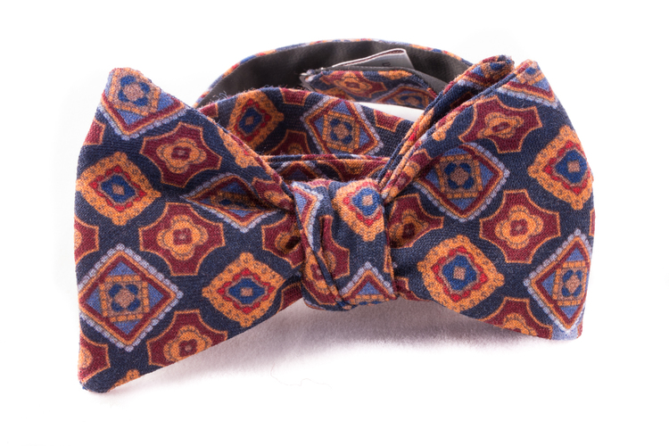 Self tie Wool - Navy Blue/Burgundy/Rust