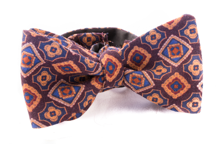 Self tie Wool - Brown/Rust/Navy Blue