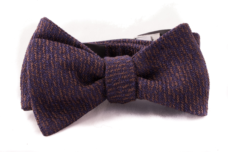 Self tie Wool - Navy Blue/Brown