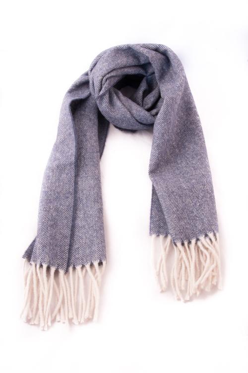 Herringbone Wool - Navy Blue