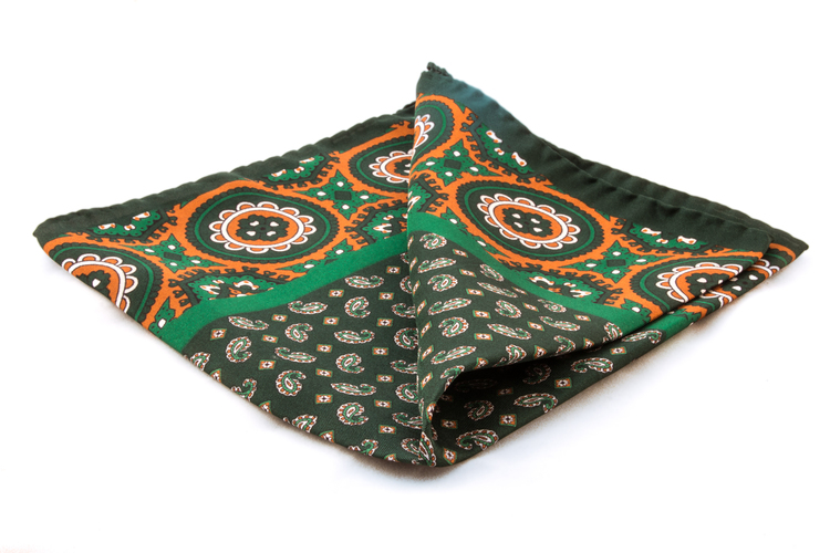 Silk Medallion - Green/Orange (36x36)