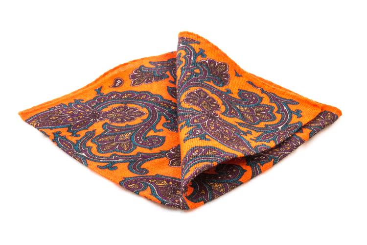 Wool Paisley - Orange/Purple/Turquoise