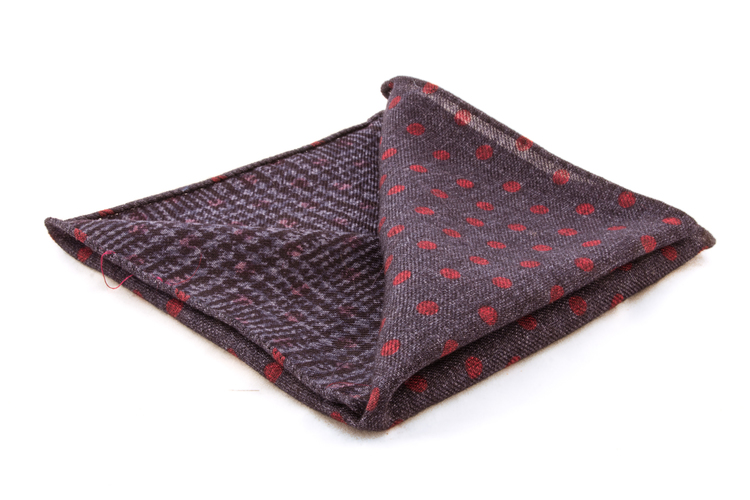 Wool Plaide/Polka Dot - Blue/Red