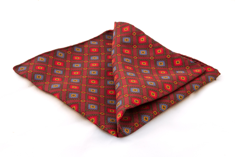 Vintage Silk Squares - Red/Blue