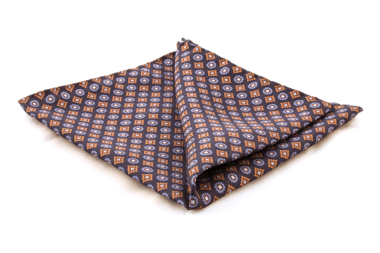 Silk Floral - Navy Blue/Orange