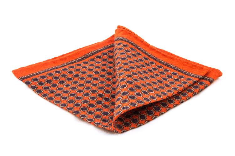 Wool Circle - Orange/Navy Blue
