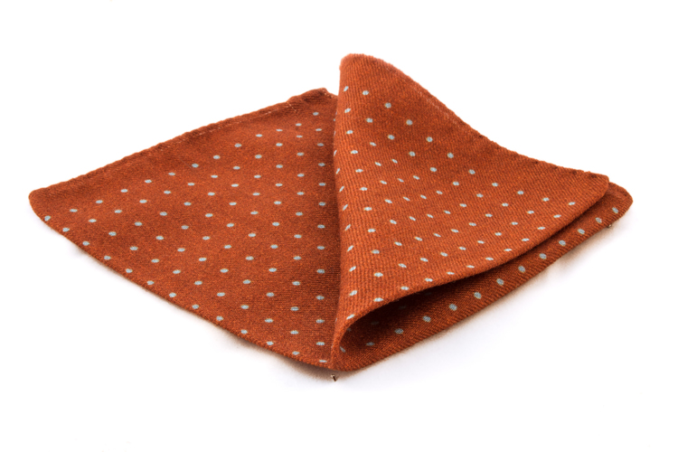 Wool Polka Dot - Rust/Light Blue