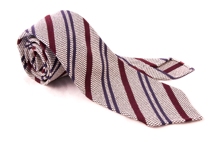 Regimental Silk Grenadine Tie - Untipped - White/Navy/Burgundy