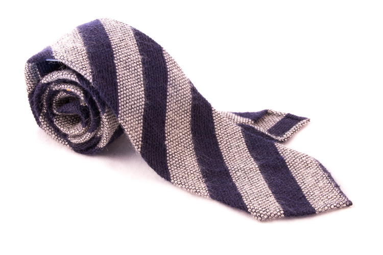 Regimental Wool Grenadine Tie - Untipped - Off White/Navy Blue