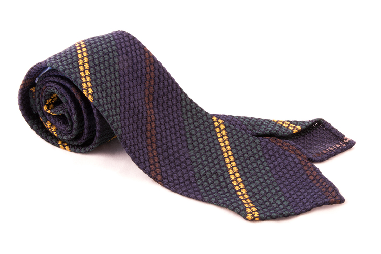 Regimental Silk Grenadine Tie - Untipped - Navy Blue/Green