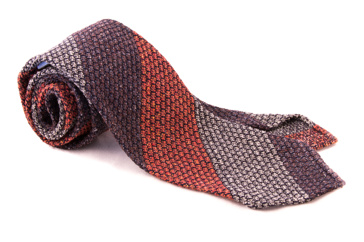 Blockstripe Jacquard Grenadine Tie - Untipped - Brown/Beige/Rust