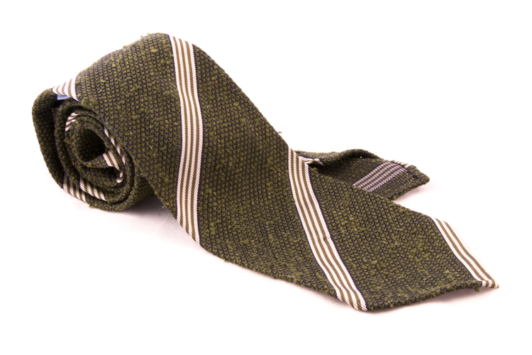 Regimental Shantung Grenadine Tie - Olive Green/White