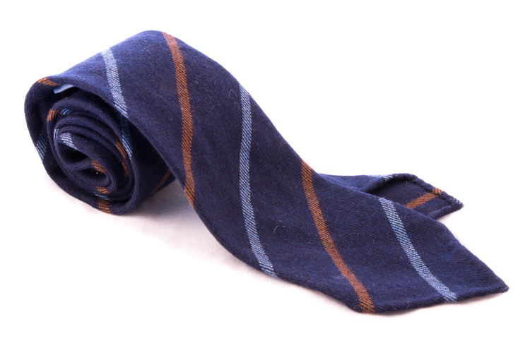 Untipped Regimental Cashmere - Navy Blue/Brown/Light Blue