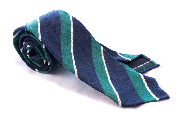 Untipped Regimental - Green/Navy Blue/White