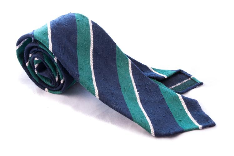 Regimental Shantung Tie - Untipped - Green/Navy Blue/White