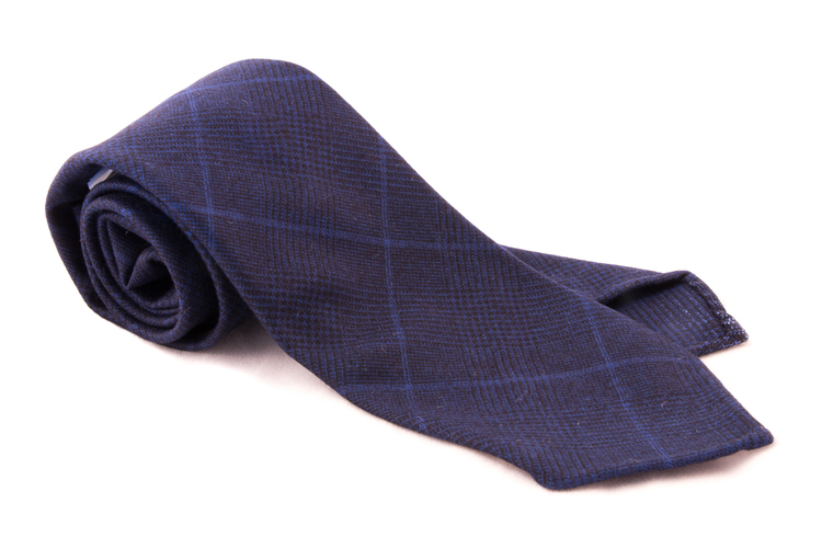 Wool Untipped Plaide - Navy Blue