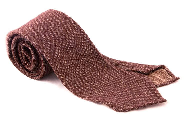 Solid Linen/Wool Tie - Untipped - Brown/Bronze