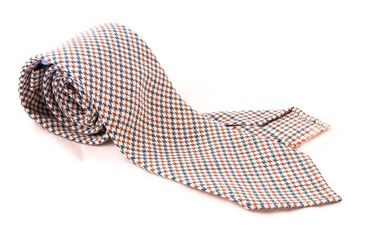 Houndstooth Wool Untipped Tie - Beige/Brown/Turqouise