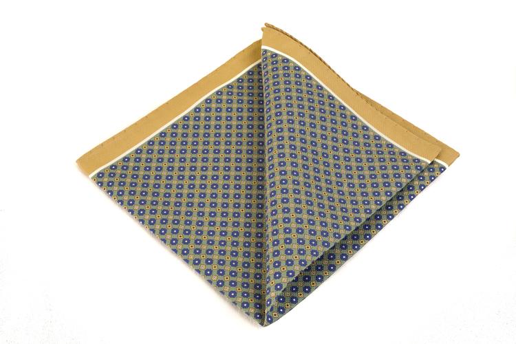 Cotton Micro Square - Green/Beige/Blue