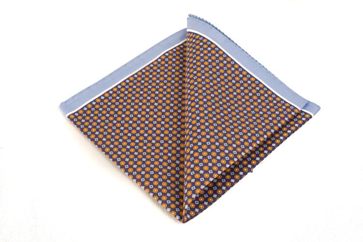 Cotton Micro Square - Navy Blue/Orange/Blue