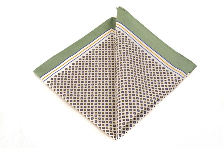 Cotton Micro Square - White/Blue/Mustard/Green