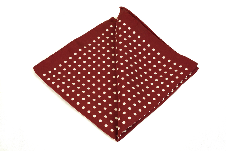 Silk Polka dot - Burgundy/White