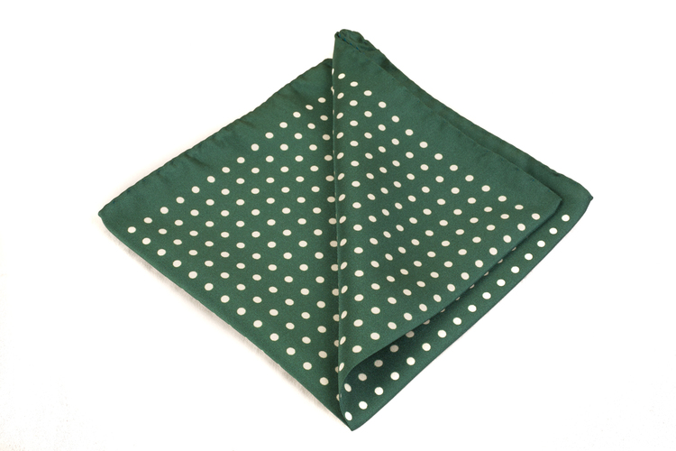 Silk Polka dot - Green/White