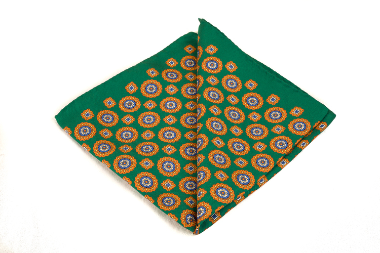 Silk Medallion - Green/Orange/White