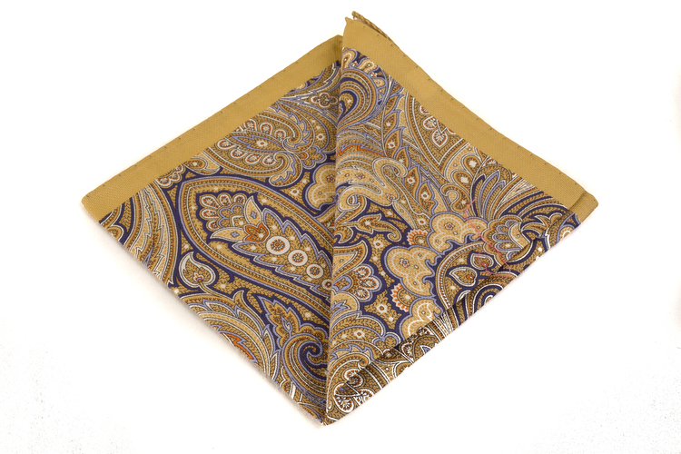 Cotton Paisley - Beige/Blue/White