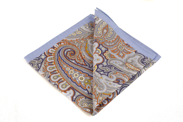 Cotton Paisley - Blue/Navy/Orange