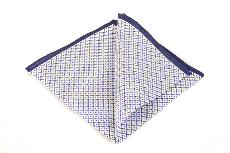 Cotton Squares - White/Navy Blue