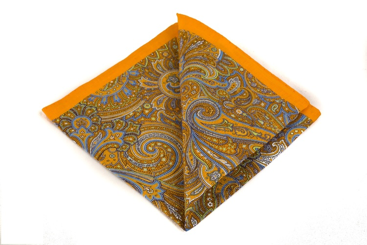 Linen Paisley - Orange/Blue/White